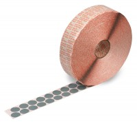 adhesive dots, made from grey special fabric, tolerant of temperatures up to 180°C; for the attachment of transport documents to re-usable plastic containers