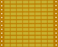 yellow equipment labels with perforations for tractor feed printers; supplied in packs of 100 sheets