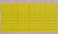 yellow fabric equipment labels for manual marking, supplied in packs of 100 sheets
