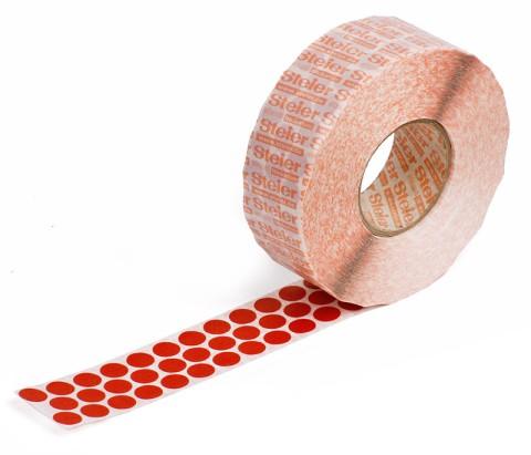 rote Markierungspunkte aus Gewebe