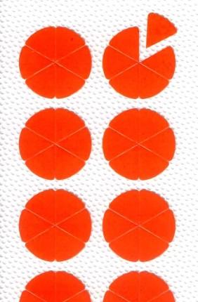 """Rundpfeile zur Fehlerkennzeichnung, auf der Leiterplatte, 10 mm Ø, eine """"Rosette"""" besteht aus 6 Rundpfeilen,"""