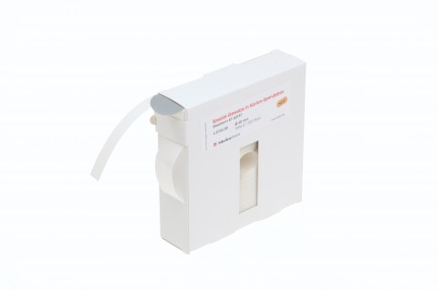 adhesive dots, made from grey special fabric, supplied in dispensing carton; for the attachment of transport documents, 30mm Dia.