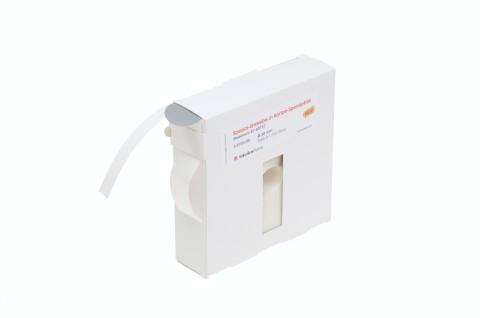 Klebepunkte aus grauem Spezial-Gewebe in Karton-Spendebox für Befestigungen von Warenanhängern, 30 mm Ø