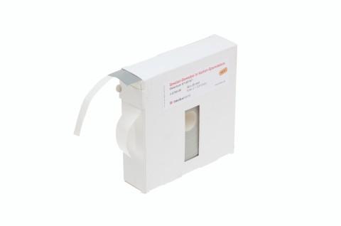 Klebepunkte aus grauem Spezial-Gewebe in Karton-Spendebox für Befestigungen von Warenanhängern, 30 x 30 mm
