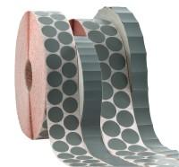 Aufkleber aus grauem Spezial-Gewebe bis + 180°C temperaturbeständig, zur Befestigungen von Warenanhängern an KLT-Boxen