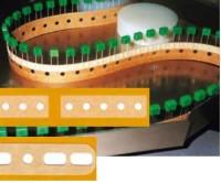 Gurtverbinder für Radial-Gurtung, aus Papier mit metrisch/zölliger Lochung, 16 x 70 mm, braun