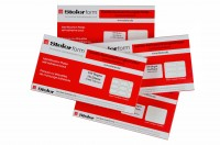 white fabric equipment labels for manual marking, supplied in packs of 100 sheets