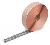 Klebepunkte aus grauem Spezial-Gewebe bis + 180°C temperaturbeständig, zur Befestigungen von Warenanhängern an KLT-Boxen