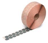 Klebepunkte aus grauem Spezial-Gewebe bis + 180°C temperaturbeständig, zur Befestigungen von Warenanhängern an KLT-Boxen 30 mm