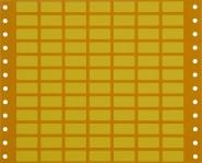 gelbe Geräte-Kennzeichnungsschilder mit Lochrand für Matrix-/Nadeldrucker, VE = 100 Bogen, 10 x 20 mm, 84 Etiketten/Bg.
